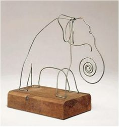 Drawing with Wire - Draw a simple silhouette on paper with a continuous line.  Bend wire into shape, and stick ends into a cork or attach to wood block.  Found idea in Family Fun magazine, based on art of Alexander Calder.