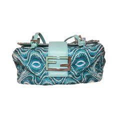 Fendi Blue Geometric Beaded Shoulder Bag