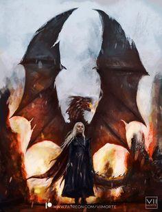 Daenerys Targaryen Art, Game Of Throne Daenerys, Khaleesi, Tatuagem Game Of Thrones, Arte Game Of Thrones, Got Dragons, Mother Of Dragons, Queen Of Dragons, Fantasy Landscape