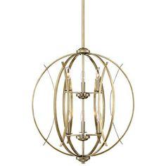 "Possini Euro Spherical 24"" W Antique Gold 6-Light Pendant"