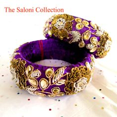 Purple Fabric bangle ethnic boho chic hand by TheSaloniCollection, $70.00