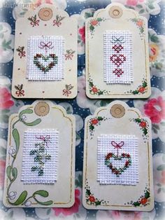 Cross Stitch Christmas tags~very cute and possibly the recipient can use as an ornament. . . or re-gift it