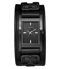 Montre Homme GUESS Casual avec bracelet de force en cuir noir, boîtier acier rectangulaire noir.