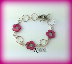 Fuchsia Flower Bracelet by DivaKreations on Etsy