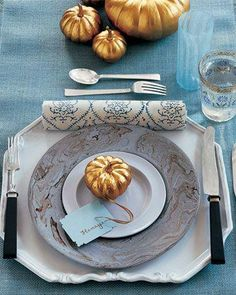 Martha Stewart Thanksgiving Table Setting: I like the mini gold pumpkins.