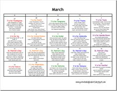 March lesson plan calendar of ideas