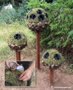 Bug ball topiary tree for attracting beneficial insects. I saw the bottom right one first and thought it was a how-to to me a Jack Skellington topiary. Garden Crafts, Garden Projects, Garden Art, Bug Hotel, Deco Nature, Little Gardens, Topiary Trees, Beneficial Insects, Flower Patch