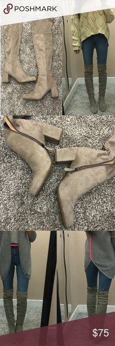 Over the knee boots Franco Sarto brand OTK boots. They are technically a grey color but I'd say they are a grayish-taupe. The non-modeling pics show the color most accurately. Worn about 5 times, see pics for normal wear. Size 8.5 Franco Sarto Shoes Over the Knee Boots