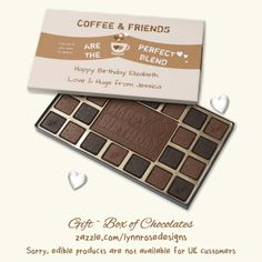 Give the gift of decadence with a custom chocolate box filled with 100% premium Belgian chocolate. Coffee & Friends are the perfect blend, brown Box of Chocolates Share this gift box of chocolates with a friend on her Birthday over a cup of coffee. #zazzle #Lynnrosedesigns
