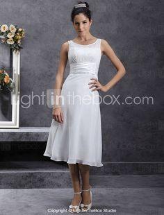 $89.00 - Sheath/ Column Scoop Tea-length Chiffon Wedding Dress - USD $ 89.99