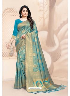Blue Designer Classic Wear Silk Blend Sari