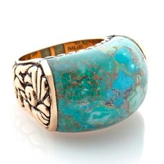 Studio Barse Curved Turquoise Bronze Dome Ring