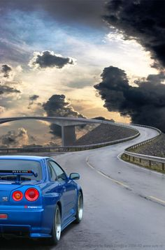 A spectacular shot of the Nissan Skyline GTR on the beautiful #AtlanticRoad, Norway. To see more #breathtaking roads like this...click on the image!