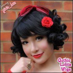 Black Short Curly Bob - Wigs for White Ladies - Snow White Cosplay - Gothic Lolita