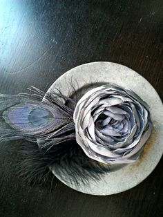 Evening Wedding Hair Fascinator Pewter by MermaidenCreations, $38.00
