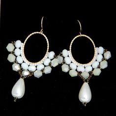 Bridal Earrings / Beaded Hoop Earrings / Bridal Pearl by Ranitit