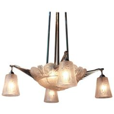 1920's Art Deco Chandelier by Muller Freres | From a unique collection of antique and modern chandeliers and pendants  at http://www.1stdibs.com/furniture/lighting/chandeliers-pendant-lights/