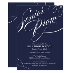 School Colors Fancy Script Prom Invitation Custom #babyshower invitations - Make your special day with these personalized #baby #shower #invitations change the colors font and images and make them your own.