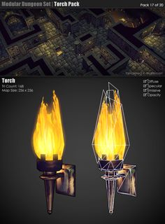 Torches which illuminate the room after treasure chest has been opened