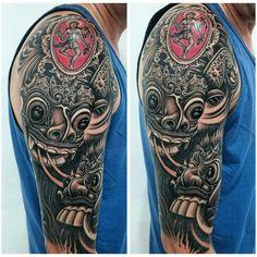 Barong and rangda mask tattoo