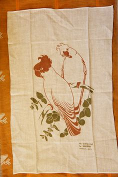 Vintage Silk Screen Print Parrot Birds Linen by SycamoreVintage