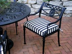 Great Black And White Striped Patio Cushions