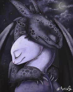 'Toothless and The Light Fury' Art Print by Aussify Toothless And Stitch, Toothless Dragon, Httyd Dragons, Cute Dragons, How To Train Dragon, How To Train Your, Arte Disney, Disney Art, Night Fury Dragon