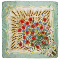 """Spighe"" (Ears) - Silk scarf designed by Vittorio Accornero for Gucci, 1970 Flora Vintage, Gucci, Motif Floral, Scarf Design, Silk Scarves, Poppies, Daisy, Creations, Bandanas"