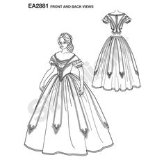 Misses' Civil War costume. Once selected, we custom print the pattern and instructions on one sheet of durable premium paper. The pattern is then hand packaged and shipped directly to your doorstep.