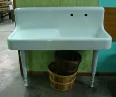 Black Dog Salvage - Architectural Antiques & Custom Designs: Antique / Vintage Cast Iron Porcelain Enamel Farm Sink w/ Drainboard & Legs