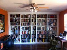 built-in bookshelves (ikea Billy hack)