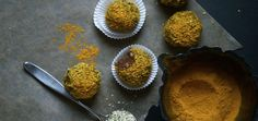 """Anti-Inflammatory Turmeric Truffles Turmeric is filled with all the best """"anti's"""" our bodies need, especially in winter — anti-oxidant, anti-viral, anti-bacterial and anti-inflammatory properties — not to mention the happiness boosting"""
