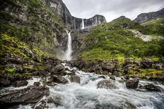"""Take a trip to Northern Europe's highest waterfall (297 meters free fall, a total of 655 meters) Mardalsfossen by Eikedalsvatnet in Romsdal. You can go right up to the waterfall and get a decent shower! In 1970 it was decided that the falls would be developed for hydroelectric power, and it led to major demonstrations, called """"Mardøla action"""" to protect the waterfall. The result was unfortunately that the waterfall was closed, but every year during the period 20 June to 20 Augus..."""