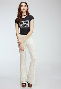 Diamond-Patterned Lace Pants | Forever21 - 2000052563