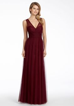 Burgundy English net A-line bridesmaid gown, pleated bodice with V-neckline, natural waist,  gathered skirt.