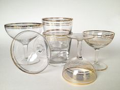 Art Deco Barware, Gold, Crystal, Great Gatsby, Rocks Glasses, Coupes, Cocktail, S/6