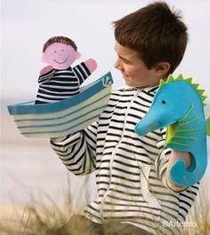 Boy and seahorse hand puppets Glove Puppets, Felt Puppets, Puppets For Kids, Paper Puppets, Puppet Crafts, Puppet Making, Puppet Show, Animal Projects, Sewing Toys