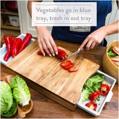 Chopping Board with Tray – White Pale Blue– Wood Cutting Boards for Kitchen - Organic Acacia Butcher Block Smart Kitchen, Kitchen Items, Kitchen Gadgets, Kitchen Products, Kitchen Gifts, Kitchen Dining, Wood Chopping Board, Wood Cutting Boards, Butcher Block Cutting Board