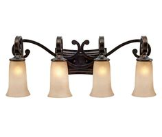 Golden Lighting 3966-BA4 Portland 4 Light Vanity Fired Bronze Indoor Lighting Bathroom Fixtures Vanity Light