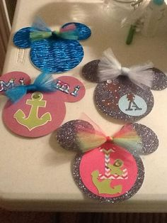 Disney Cruise Door decor. Can make these with our names on them & magnets on the back.