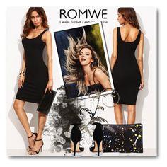 """Romwe black dress"" by theawsomewallflower ❤ liked on Polyvore featuring Loeffler Randall and Boohoo"
