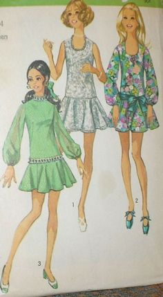 Vintage 1970s Simplicity 8806 Drop Waisted Mini Dress Pattern 32B SZ 11 12 Unct   eBay