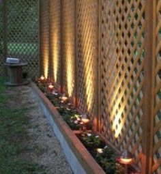 GREAT idea for a privacy fence thats easier on the pocketbook. Lattice to the height you want and the solar lights gives it the finished look.