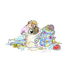 Wrapping Presents Pug Pictures, Dog Photos, Pug Illustration, Pug Cartoon, Pugs And Kisses, Pug Art, Pug Puppies, Cute Pugs, Pug Love