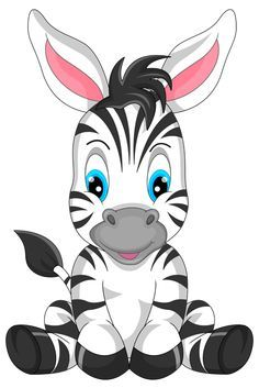 Cute Zebra Cartoon PNG Clipart Image