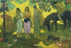(France) Rupe rupe (fruits gathering) in Tahiti by Paul Gauguin post impressionism Paul Gauguin, Henri Matisse, List Of Paintings, Animal Paintings, Horse Paintings, Gauguin Tahiti, Fondation Vuitton, Modern Impressionism, Impressionist Artists