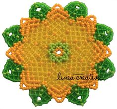 PDF Pattern for beaded flower doily/coaster, Ø appr. 10 cm, 3.9 in.