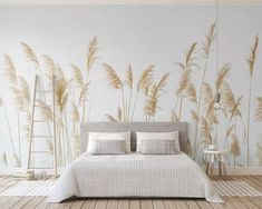 Fresh Handpainted Simple Reed Wallpaper, Autumn Yellow Reed Wall Mural, Living Room or Dinning Room Wallpaper Home Decor - falfestés Dinning Room Wallpaper, Decor, Room Wallpaper, Wall Wallpaper, Wall Murals, Home, Wall Deco, Home Decor, Room