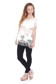 T-shirt long en maille blanc - Zonedachat.com T Shirt Long, Lace, Shirts, Tops, Women, Fashion, Fringe Coats, Moda, Women's