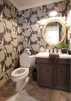 Sally Wheat Interiors, powder room, Suzy Hoodless wallpaper